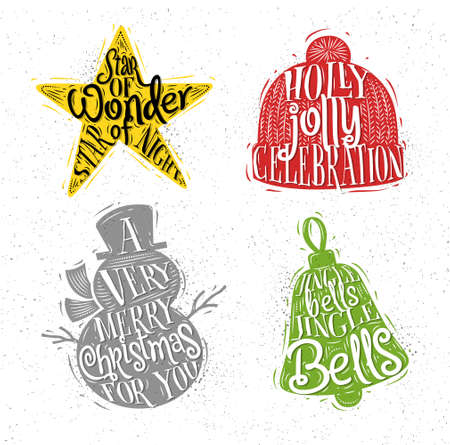 Christmas vintage silhouettes star, snowman, bell, winter hat with greeting lettering star of wonder star of night, holly jolly celebration, a very merry christmas for you, jingle bells jingle bells drawing with color on dirty paper background Illustration