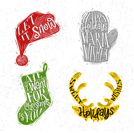 let it snow: Christmas vintage silhouettes Santa hat, mitten, deer, sock with greeting lettering let it snow, happy holidays warm wishes, all i want for Christmas is you, sweet holidays wishes drawing with color on dirty paper background
