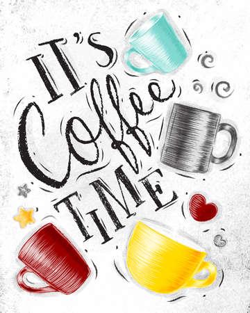 커피 컵 더러운 종이 배경에 그리기의 커피 타임 글자 포스터