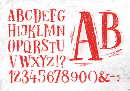 hand pencil: Font pencil vintage hand drawn alphabet drawing in red color on dirty paper background.