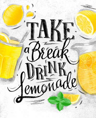 Cartel con elementos de vidrio de limonada, limón, jarra, las letras de menta tomar un dibujo bebida ruptura limonada en el fondo de papel sucio Foto de archivo - 64447833