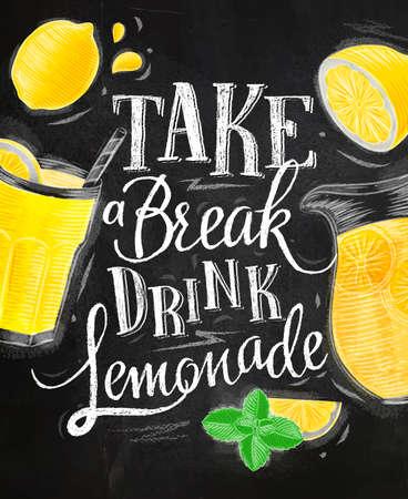 Poster met limonade elementen glas, citroen, jug, munt belettering neem een ??pauze drankje limonade tekenen met krijt op schoolbord achtergrond Stockfoto - 64448195