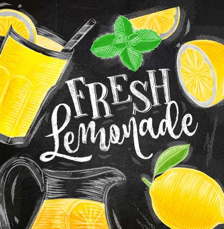 Poster con elementi di limonata vetro, limone, brocca, lettere di menta fresca limonata disegno con gesso sullo sfondo della lavagna