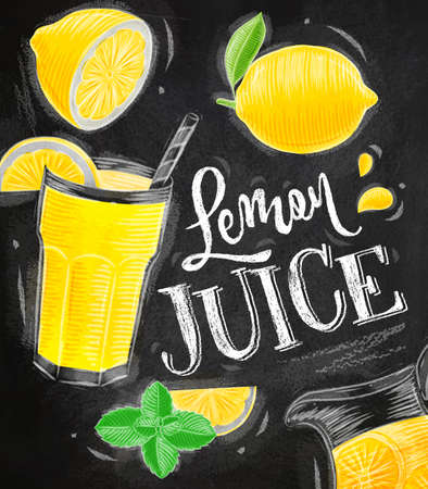 Poster with lemonade elements glass, lemon, jug, mint lettering lemon juice drawing with chalk on chalkboard background Illustration