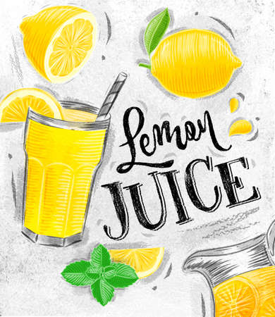 Poster with lemonade elements glass, lemon, jug, mint fresh lettering juice lemon drawing on dirty paper background