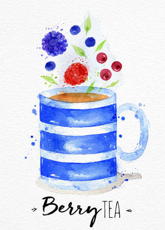 watercolor paper: Watercolor teacup with tea, berry, cranberry blueberry, raspberry drawing on watercolor paper background
