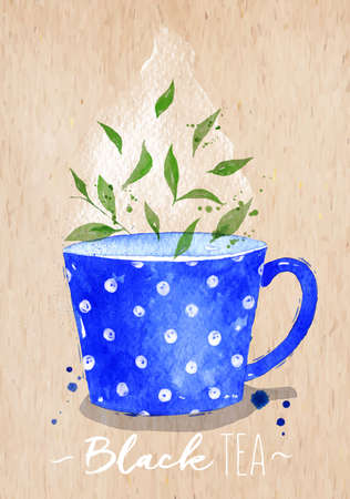beautiful homes: Watercolor teacup with black tea drawing on paper background Illustration