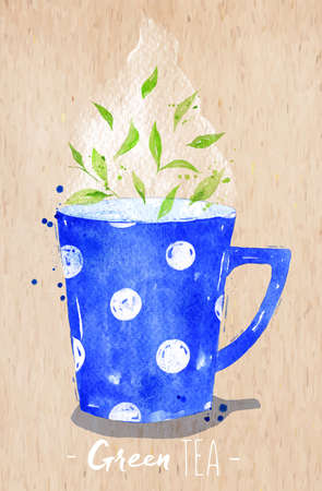 green paper: Watercolor teacup with green tea drawing on paper background Illustration