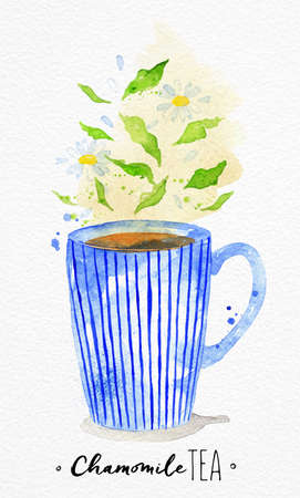 Watercolor teacup with chamomile tea drawing on watercolor paper background Illustration