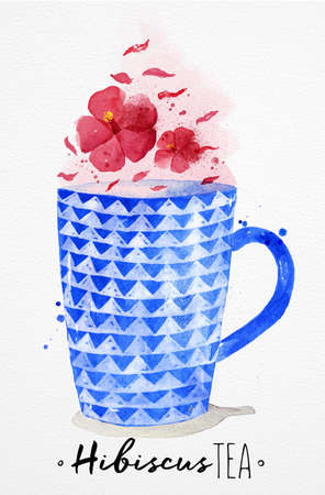 beautiful homes: Watercolor teacup with red tea, hibiscus drawing on watercolor paper background