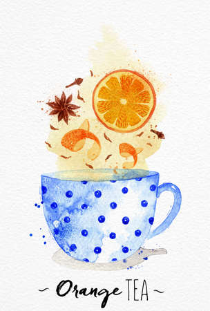 cloves: Watercolor teacup with orange tea, cloves, anise drawing on watercolor paper background