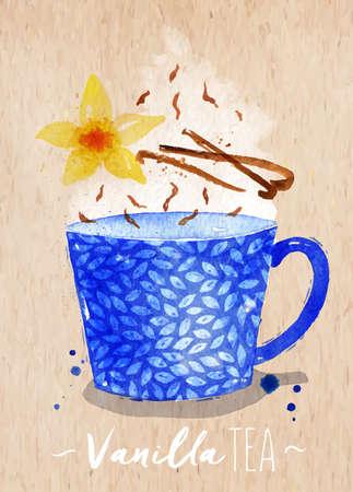 flor de vainilla: Watercolor teacup with vanilla tea, vanilla flower drawing on paper background