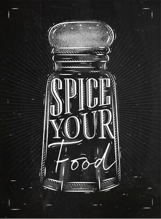 spice: Poster pepper castor spice lettering spice your food drawing in retro style on chalkboard background. Illustration