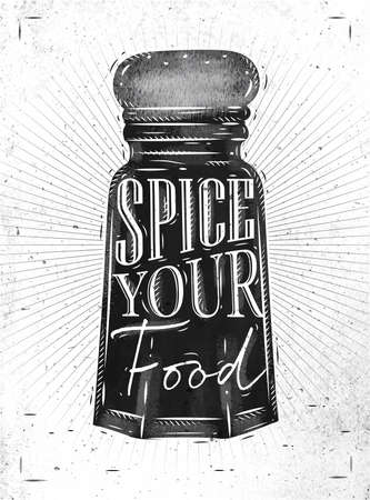 spice: Poster pepper spice castor lettering spice your food drawing in retro style on dirty paper background.