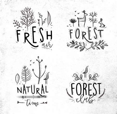 fresh air: Forest labels lettering forest, fresh air, forest club, natural time drawing with coal