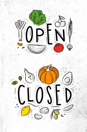 shopsign: Eco signboard in eco style decorated by fruits and vegetables lettering open and close drawing with coal and color on dirty paper background Illustration