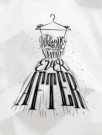 Affiche robe de mariage lettrage bienvenue à notre heureusement jamais après avoir tiré sur émietté fond de papier Vecteurs
