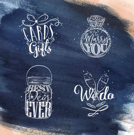 wedding ring: Wedding symbols lettering cards and gifts, want to marry you, best, day ever, we do drawing on dark blue watercolor