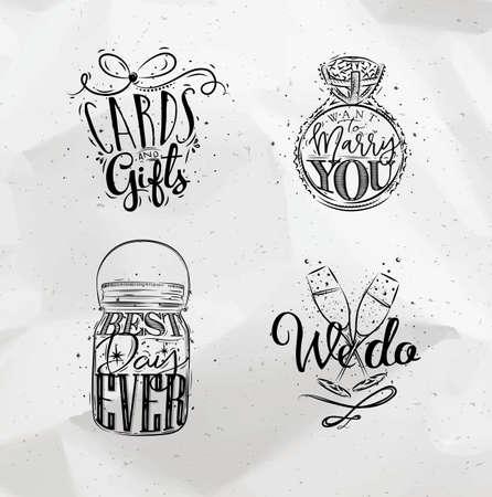 anillo de boda: símbolos de la boda tarjetas de letras y regalos, quieren casarse con usted, el mejor, día de todos, nosotros dibujo sobre fondo de papel arrugado Vectores