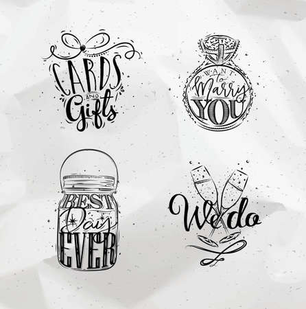 wedding ring: Wedding symbols lettering cards and gifts, want to marry you, best, day ever, we do drawing on crumpled paper background