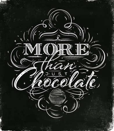 빈티지 스타일의 포스터 초콜릿 검은 수채화 배경을 그리기 단지 초콜릿보다 더 많은 글자