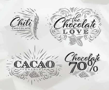 ビンテージ スタイル レタリング チョコレート愛、唐辛子、カカオ チョコレート ラベル コレクション、70 上に描画くしゃくしゃ紙の背景に。
