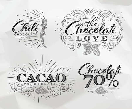 Chocolade labels collectie in vintage stijl letters chocolade liefde, chili, cacao, 70 tekening op verfrommeld papier achtergrond.