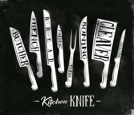 esquema: Cartel de la carne de la cocina cuchillos de corte carnicero, francés, pan, pelar, tenedor, deshuesado, cuchilla, el fileteado en el dibujo estilo de la vendimia con tiza en el fondo pizarra
