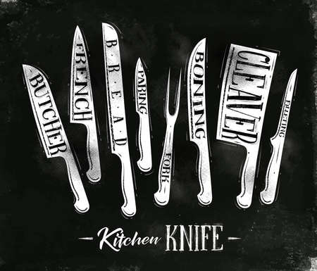 filleting: Poster kitchen meat cutting knifes butcher, french, bread, paring, fork, boning, cleaver, filleting in vintage style drawing with chalk on chalkboard background Illustration