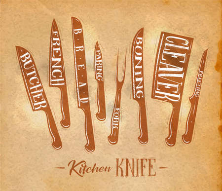 filleting: Poster kitchen meat cutting knifes butcher, french, bread, paring, fork, boning, cleaver, filleting drawing in retro style on craft paper background