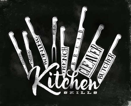 Poster meat cutting knifes butcher, french, bread, paring, fork, boning, cleaver, filleting in vintage style drawing with chalk on chalkboard background