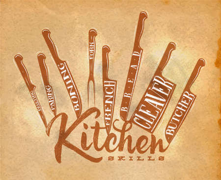 paring: Poster meat cutting knifes butcher, french, bread, paring, fork, boning, cleaver, filleting drawing in retro style on craft paper background
