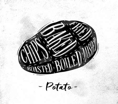baked potato: Poster potato cutting scheme lettering chips, baked, fried, roasted, boiled in vintage style drawing on dirty paper background