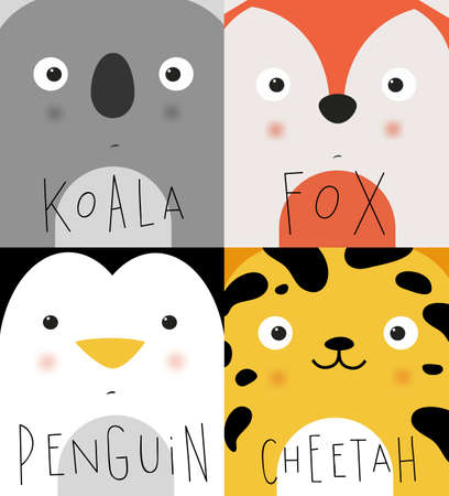bacon portrait: Set of animal muzless koala, fox, penguin, cheetah dwawing in cute cartoon style