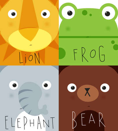 bacon portrait: Set of animal muzless lion, frog, elephant, bear dwawing in cute cartoon style Illustration