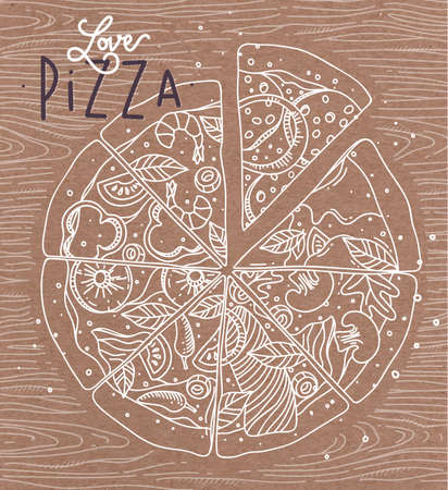 old style: Poster lettering love pizza drawing with grey lines on brown background