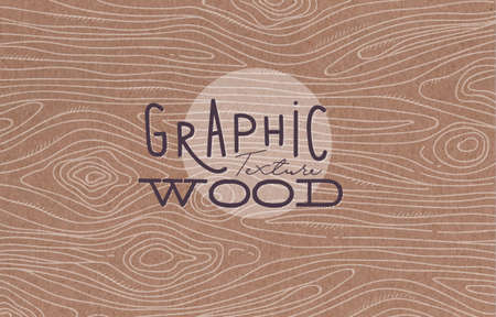 Wood graphic texture drawing with grey lines on brown background