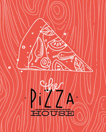 grey house: Poster lettering the pizza house drawing with grey lines on coral background