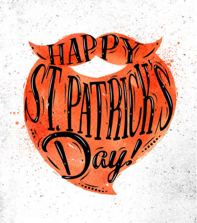 Poster lettering happy St Patricks day drawing in vintage style on dirty paper background
