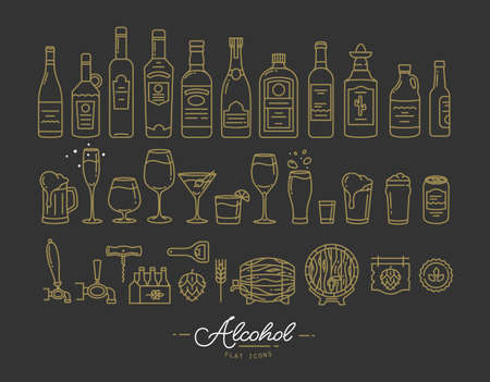 Set of alcohol icons in flat style drawing with gold lines on black background Çizim