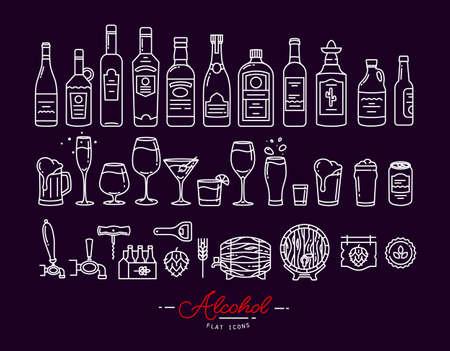 Set di icone alcol nel disegno stile piatto con linee bianche su sfondo viola Vettoriali