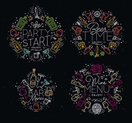 Set di monogrammi alcol in stile di disegno piatto con linee di colore su sfondo nero Vettoriali