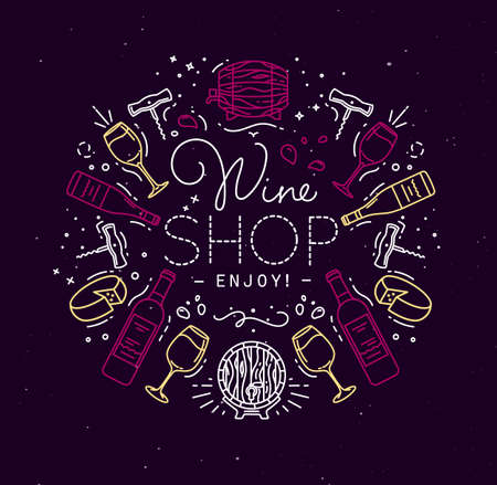 Alcohol monogram in flat style lettering hwine shop enjoy drawing with color lines on dark background Illustration
