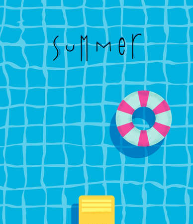 swims: Summer pool poster with pool swimming ring, bright colorful modern style. Illustration