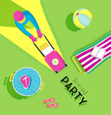 meat grill: Backyard party poster with lawnmower man, deck chair, bbq grill, beach ball, flip flops, book, meat, bright colorful modern style
