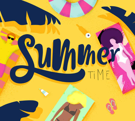 Summer time poster with beach and lying on deck chair people on the sun. Иллюстрация