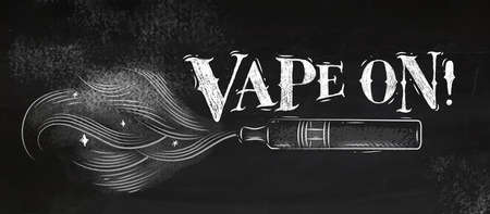 Poster electronic cigarette, vaporizer with smoke cloud in vintage style lettering vape on drawing with chalk on chalkboard background Stock Illustratie