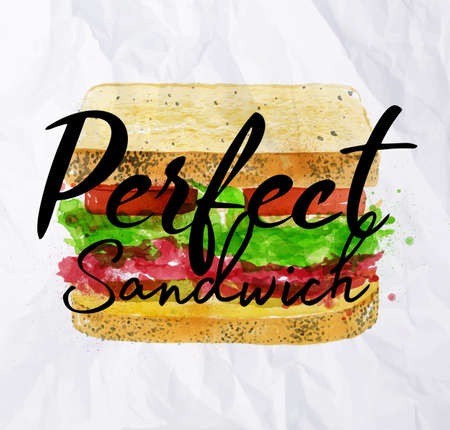 Sandwich with ingridients of bloomer bread cereals, roast beef, pickles, onions, tomatoes, salad, homemade tartar drawing with color paint on crumpled paper background.