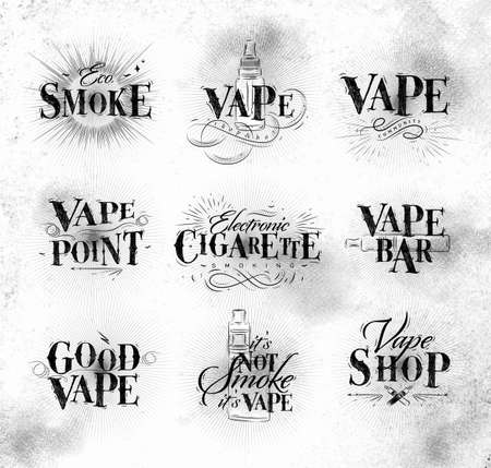 propylene: Poster with vaporizer in vintage lettering stop smoking start vape drawing on dirty paper background.