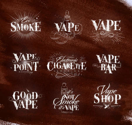 Poster with vaporizer in vintage lettering stop smoking start vape drawing with chalk on chalkboard background. Illustration